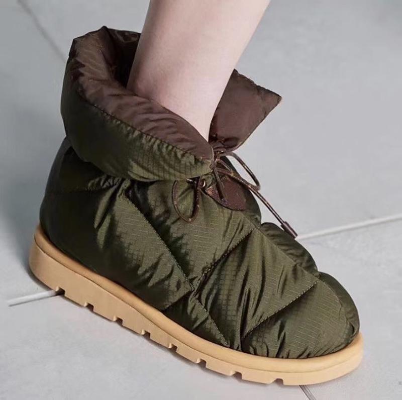 Mujer diseñadora almohada plana botines botines de invierno botas de nieve nylon acolchado zapatos cálidos superiores invierno interior y zapatos exteriores con caja