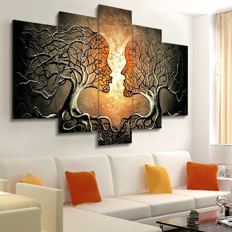 Modern Wall Art Canvas Painting 5 Pieces Abstract Kiss Tree Posters and Prints Wall Pictures for Living Room Bedroom Decoration1