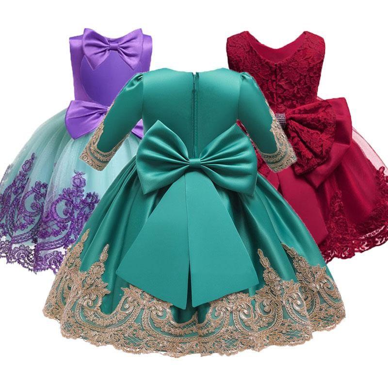 Kız bebek nakış ipek elbiseler için prenses elbise zarif akşam parti Noel Cadılar Bayramı yeni yıl çocuklar elbiseler giyim