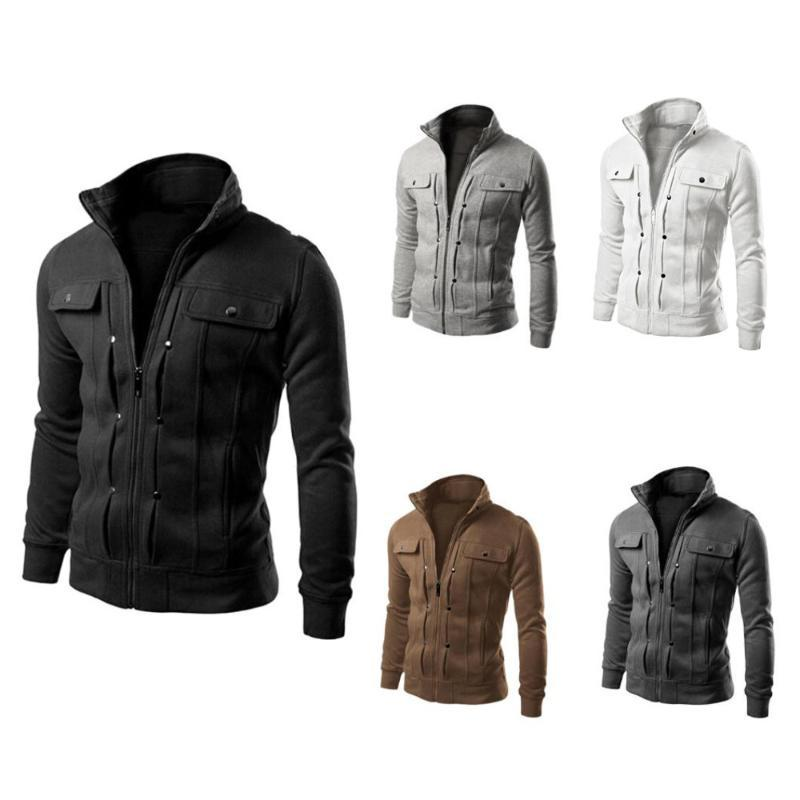 Mens Pure Color Jacket Slim Fit Lapel Cardigan Fashion Casual Comfortble Zipper Warm Jacket Male Coat