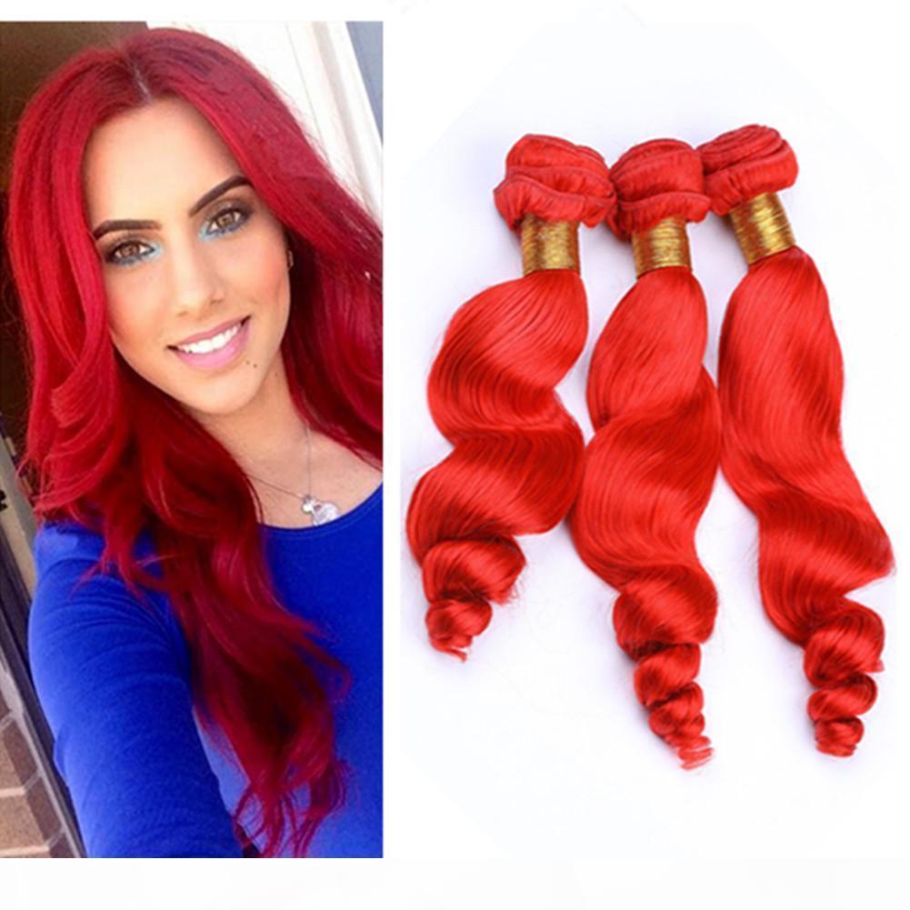 Peruano rojo brillante cabello humano tejidos de ondas sueltas Ofertas onduladas Ofertas 3 unids Lote Puro color rojo Virgen Human Haavy Haave Haave Extensions Mixed Longitud