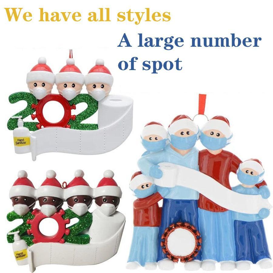 2020 Nome FAI DA TE Benedizioni Snowman Pendente Appeso Pendente PVC Maschera Spot Nuove decorazioni Decorazione dell'albero di Natale Babbo Natale