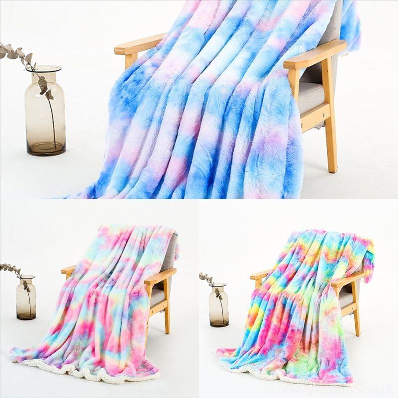 hdm1 azul flanela cobertor cobertor cama capa arco-íris cores jaquard branco lã cama capa colcha de casal camada adulta cobertor