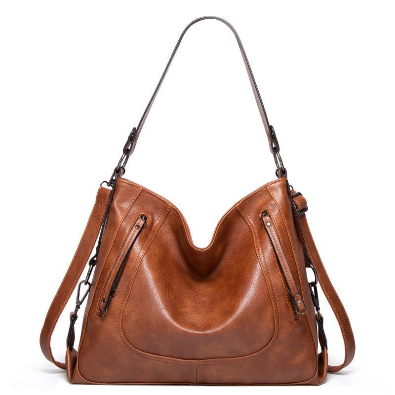 2020 pelle Vintage Brown Donne borse sacchetti di spalla di lusso di marca del progettista di alta qualità Crossbody Borse per le donne Borsa Mujer