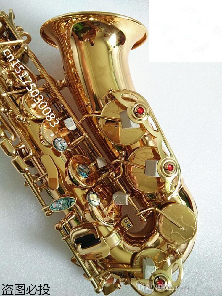 العلامة التجارية الجديدة ساكسفون ألتو ساكسفون الذهب locquer sax الآلات الموسيقية المهنية مع القضية المعبرة