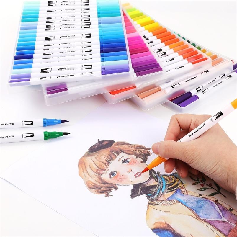 24/36/48/72/100/120 Colores Marcadores acuarelas Dibujo Dibujo Pintura Juego de agua Colorear Pincel Lápiz Doble Tip Suministros de arte de la cabeza 201222