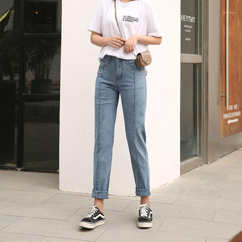 2021 Plus Size Jeans Pantaloni da donna Pantaloni ad alta vita Pantaloni a figura intera mamma Denim Harem Pants 6XL 7XL 8XL Nero Blue1