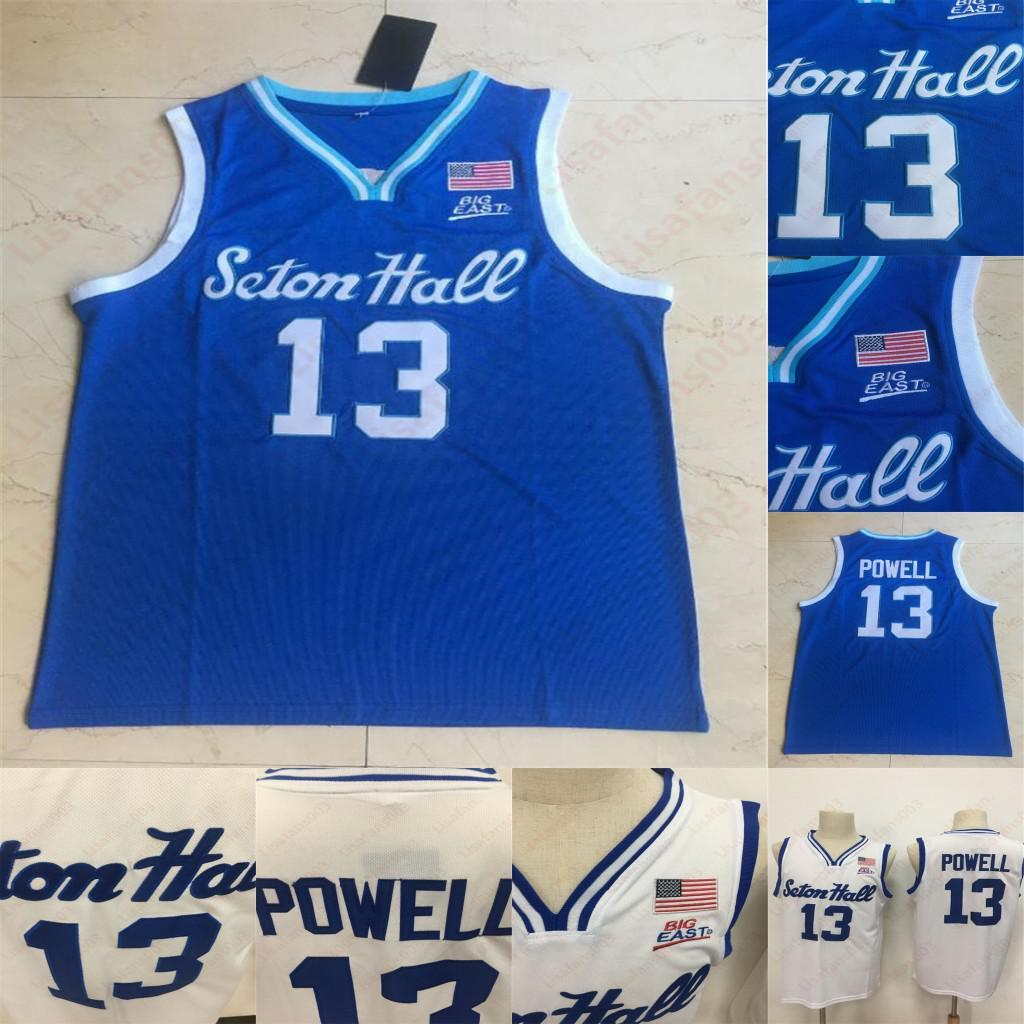 2020 Seton Hall Myles Powell College University 13 Jersey Stitched Jerseys Azul Branco 100% Costurado Basquete Mens Jersey
