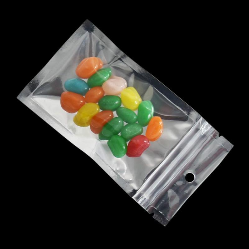 Mylar Sour Gummies أكياس التعبئة الحلوى التعبئة مقابلة شفافة الفضة البوليستر فيلم الألومنيوم البلاستيك تغليف الأطعمة حقيبة مع سحاب