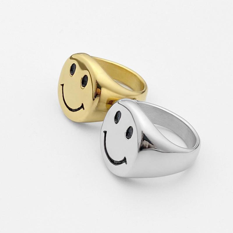 2020 novo estilo ouro cor anéis de aço inoxidável para mulheres retrô Antique Smiley Ring Ring Festa Jóias Presentes Grátis J1208