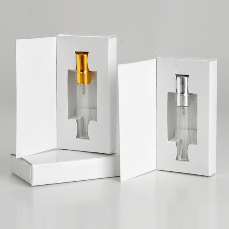 100 pcs 3ml 5ml 10ml garrafa de vidro atomizador atomizador spray parfum com caixa de embalagem amostra cosmética frascos recarregáveis frascos