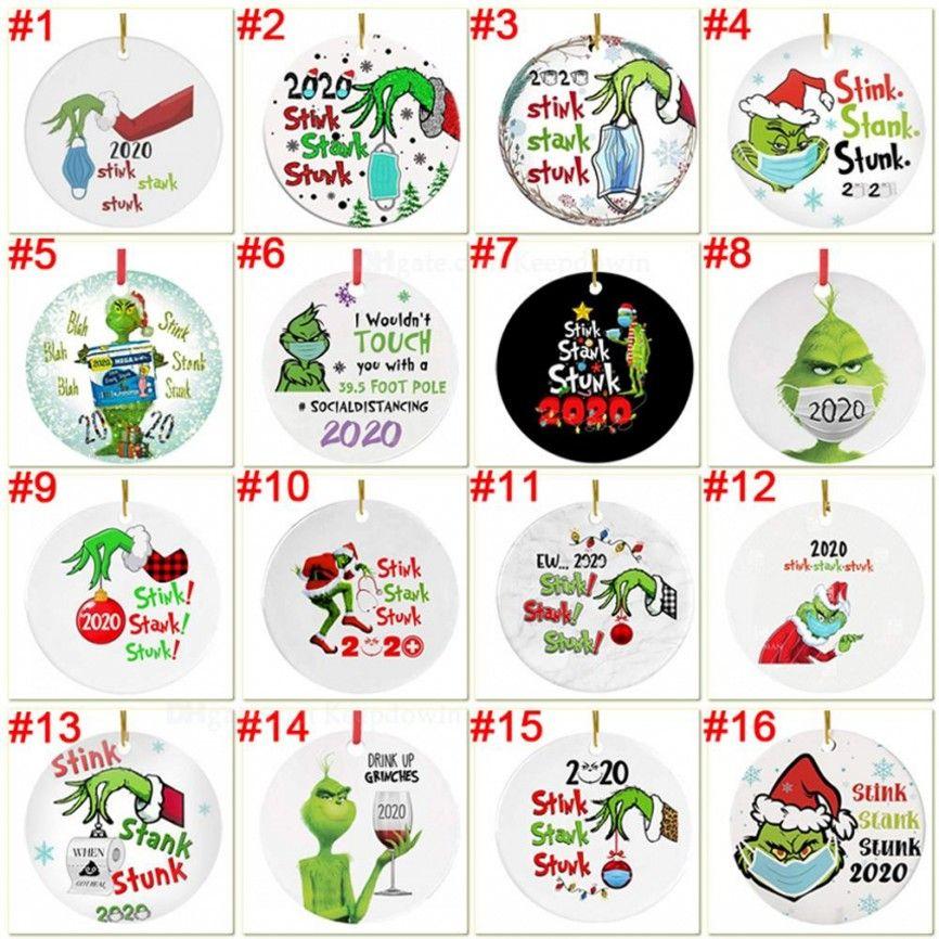 Grinch Karantina Noel Süs Noel Asılı Süsler Noel Ağacı Dekorasyonu için Kişiselleştirin Maske Tasarımcı 2020 Giyen Kızım için