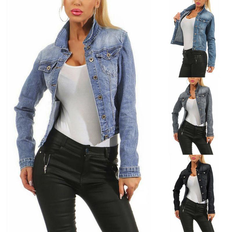 2019 Marka Kadınlar Jean Ceketler Moda Kore Streetwear Soluk Yıkama Kot Ceket Bayanlar Rahat Denim Ceket Mavi Siyah