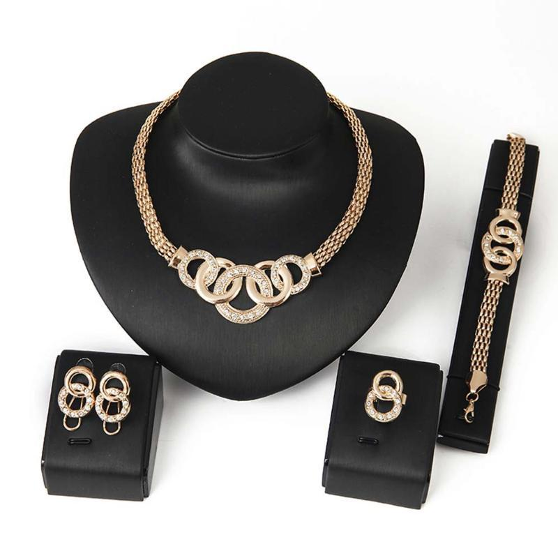Ожерелье набор для женщин-вечеринка Свадебные серьги Браслет кольцо нежные подарки для ее турецкого африканского ювелирного назначения