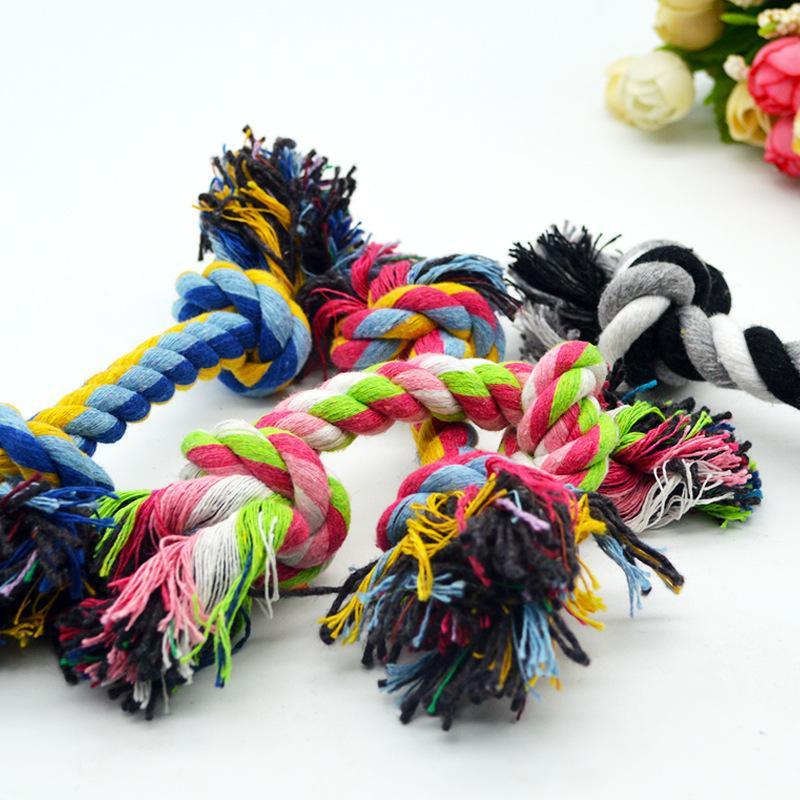 Haustiere Hunde Baumwolle Kauen Knoten Spielzeug Bunte Durable Geflochtene Knochenseil 18 cm Lustige Hund Katze Spielzeug M2