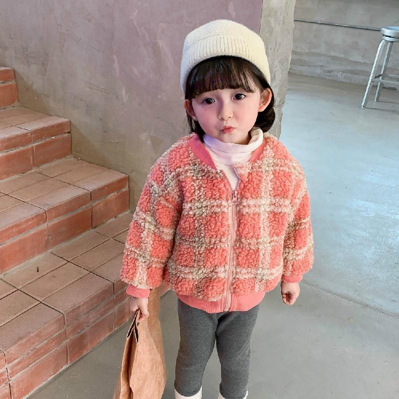 Chaquetas 2021 Otoño Llegada Invierno Chicas Manga Larga Fleece Warm Fleece Abrigo Niños Plaid