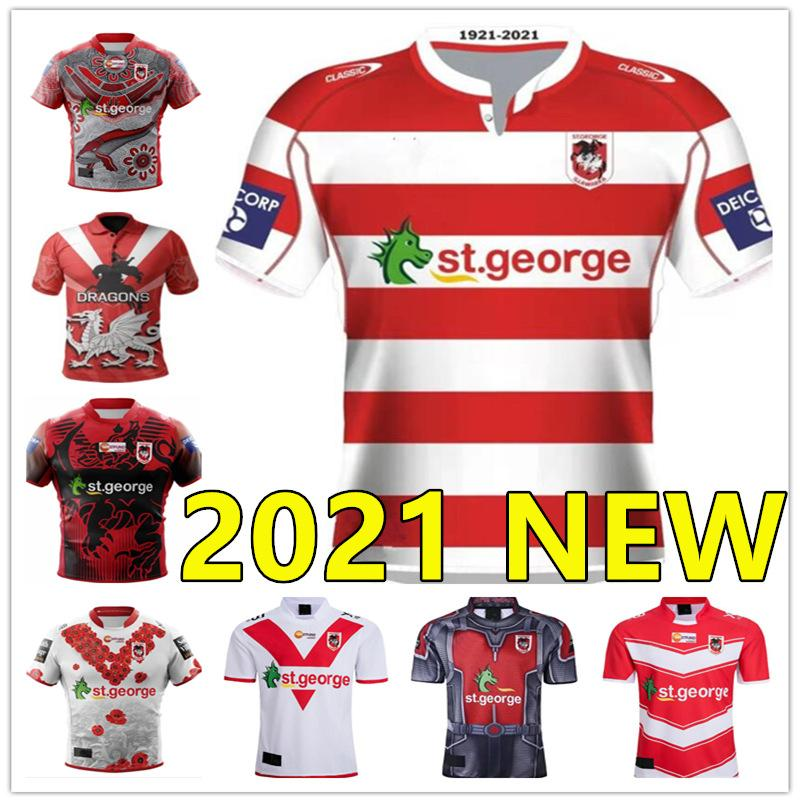 2021 St George Illawarra Draghi Jersey Commemorative Rugby Indigena Maglie Rugby League Maglie Camicie Sport