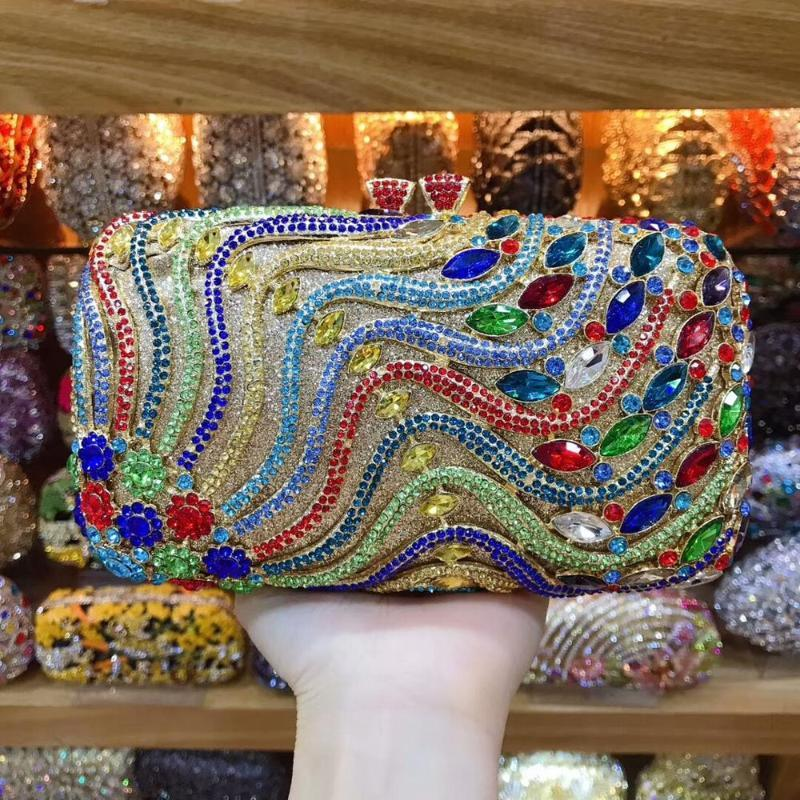 Fashion Colorful Crystal Clutches Evening Bags Women Party Purse Luxury Clutch Bag Ladies Night Wedding Chain Handbags