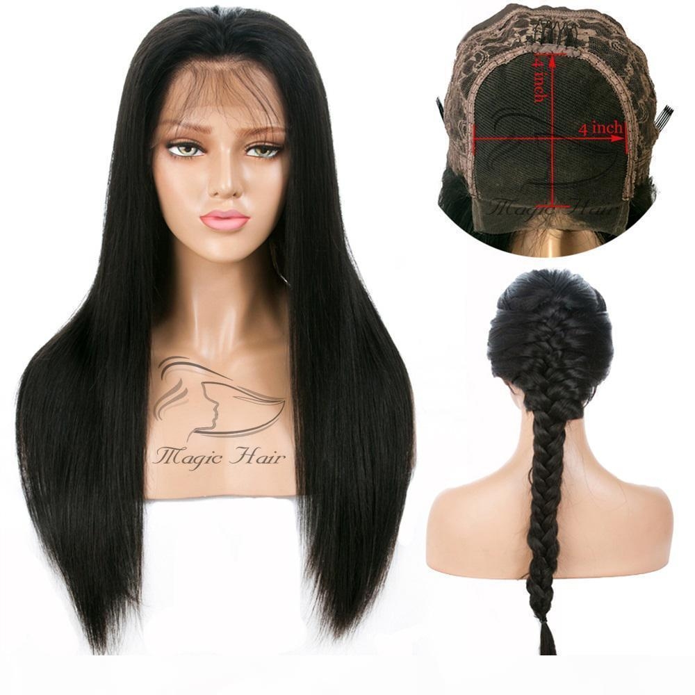 4*4 Lace Closure Human Hair Wigs Brazilian Lace Front Human Hair Wigs For Black Women Remy Straight 130% 4x4 Closure Wig
