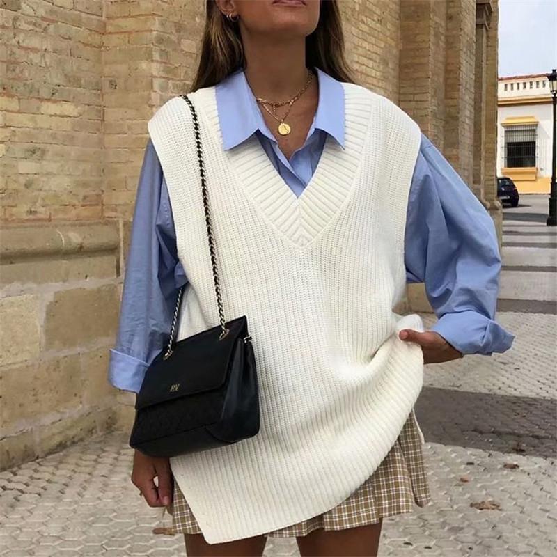 Kadın Yelekler Blsqr Beyaz V Yaka Ceket Yelek Kış Rahat Kolsuz Gevşek Kazak Streetwear Rahat Yumuşak Kazak 2021