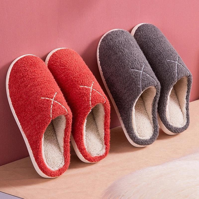 Kadın Kış Terlik Katı Renk Sıcak Peluş Severler Ev Kat Ayakkabıları Slip-On Rahat Kadın Kapalı Pamuk Terlik SH481 # DL4X