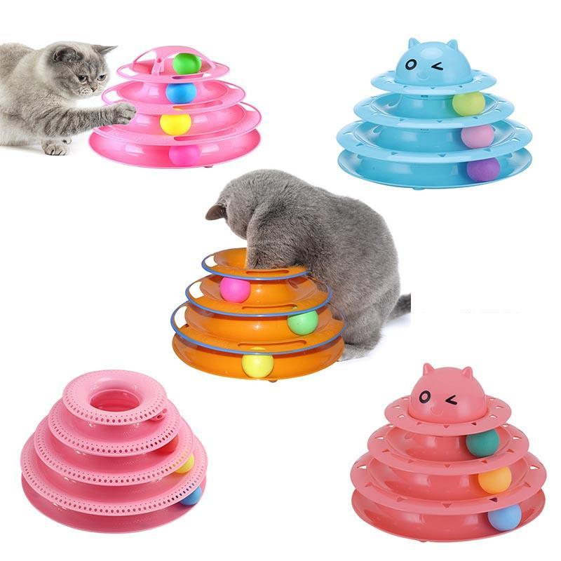 Kedi Oyuncaklar Komik Pet Oyuncak Zeka Üçlü Oyun Disk Topları Çılgın Top Disk Interactive IQ Traning için