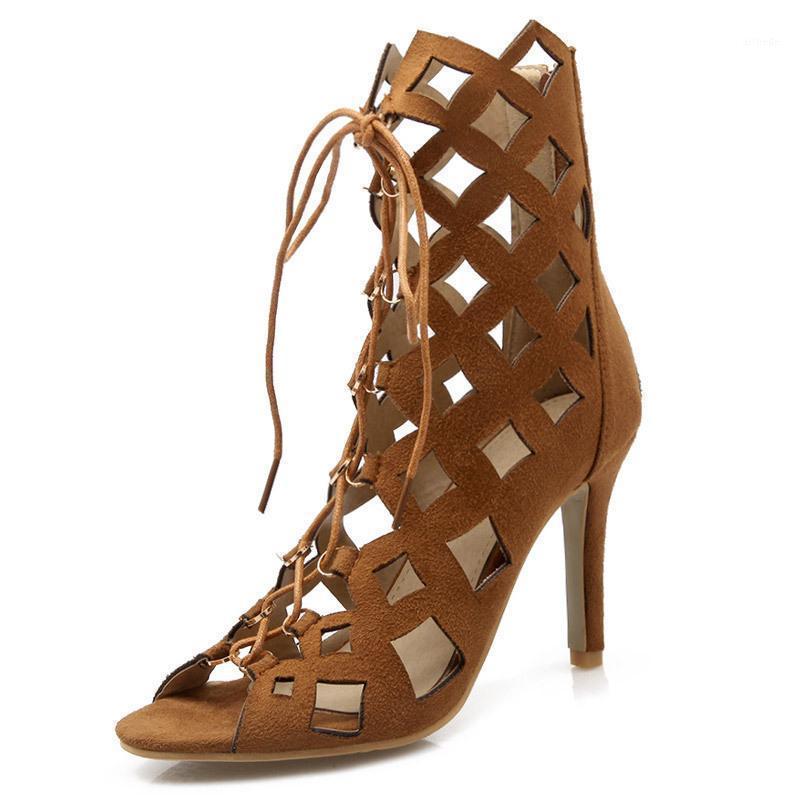 Stivali da donna a metà vitello rotondo scarpe scarpe a basso contenuto di sandali in gomma tacco alto tacco alto grande dimensioni signore flock flock flock in tessuto medio-vitello roma1