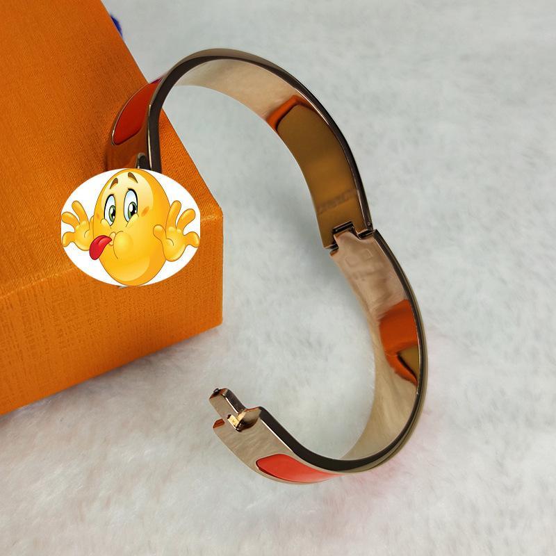 Chaopai Emma 12mm H Pulseira Letra Fivela Enamel Titanium Fecho de Aço Bracelete F1130