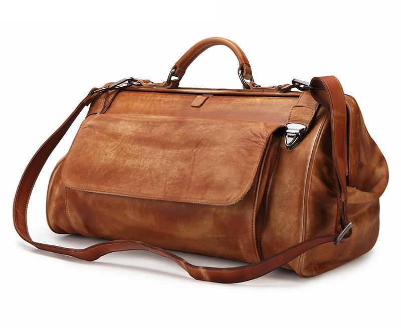 Bolso de viaje de cuero genuino de café de alto grado con hebilla de metal Hombres de moda bolsos de viaje Bolso del diseñador antibalos