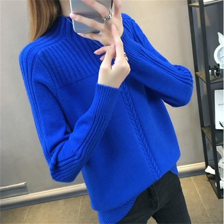 Половина водолазки свитер вязаный пуловер женская осень зима топы раглан рукава теплый свитер новый вязаный пуловер свитер 3XL 201016