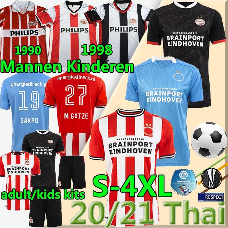4XL PSV Eindhoven Fussball Jersey 2020 2021 Götze Malen Gakpo Ihattaren Zahavi Retro 1990 1998 Home Away Männer Kits Kinder Fußball Hemden Uniform