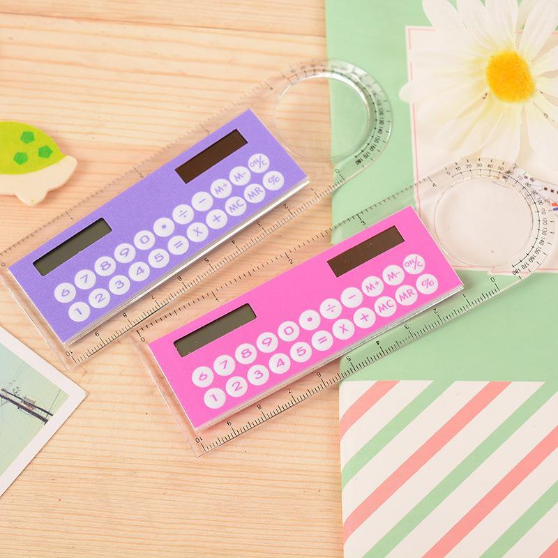 Mini Portable Solar Energy Calculator Creative Multifunction Ruler Student Ruler Calculator Plastic Christmas Gift 224 N2