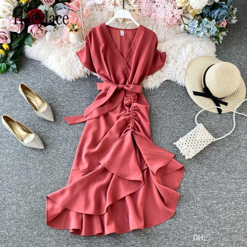 Vintage Unregelmäßige Falzkleid Frauen Dünne Kurzarm V-Ausschnitt Elegante Trompete Kleid Vestidos Sommer Damen Bandage Lange Robe