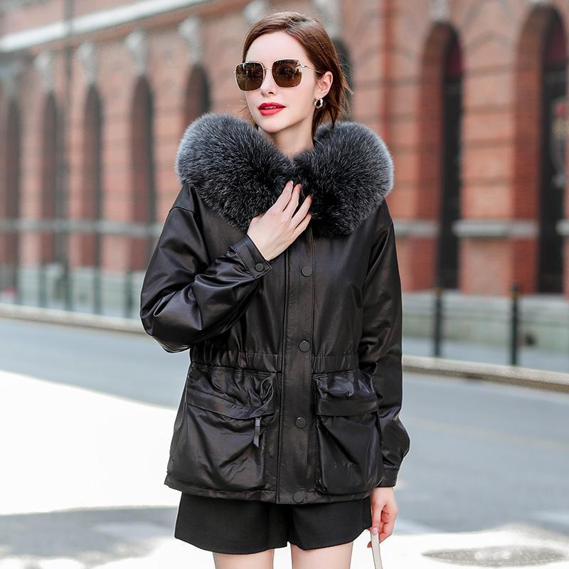 Натуральная кожа куртка женщин Дубленки Женский зимний пуховики с капюшоном ветровки женщина меховой воротник 2020 Весте Femme Pph2576
