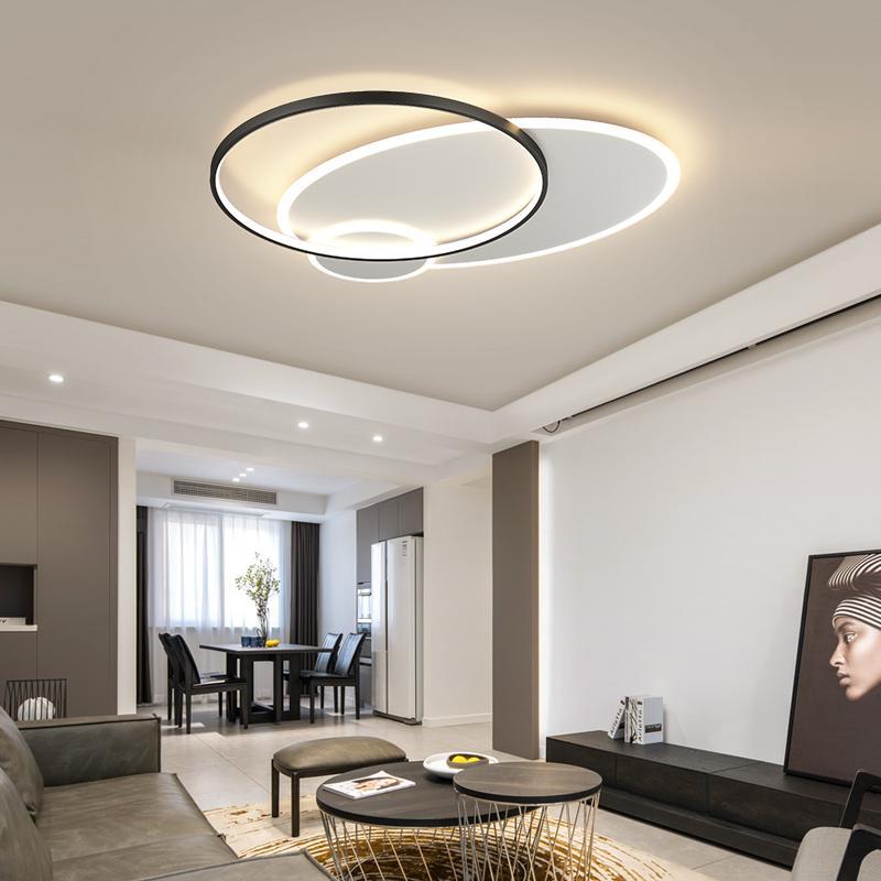 현대 LED 샹들리에 조명 거실 용 식당 침실 학습 알루미늄 아크릴 램프 실내 Dimmable 조명 조명기