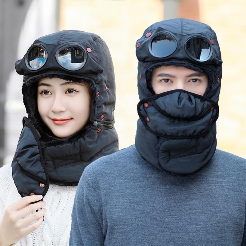 Rüzgar Geçirmez Bombacı Kış Yüz Sıcak Kap Pamuk Şapka Ushanka Maske Gözlük Boyun Koruyucu Erkekler Kadınlar Kadınlar Için Yürüyüş Kayak SQ1