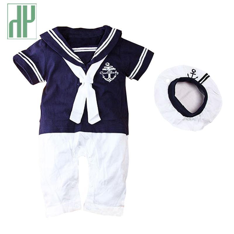 Ropa de bebé verano bebé marinero traje mameluco 2pcs niños niños niñas verano mameluca + sombrero cuerpo cumpleaños vestido recién nacido ropa unisex z1118