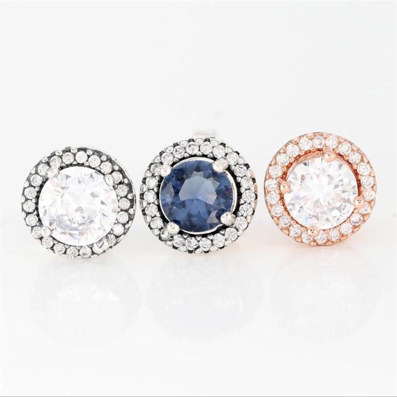 925 الفضة الاسترليني الإناث مسمار تألق محاطة من زركونيا مكعب مجوهرات فاخرة فتاة الاشتباك هدية أقراط