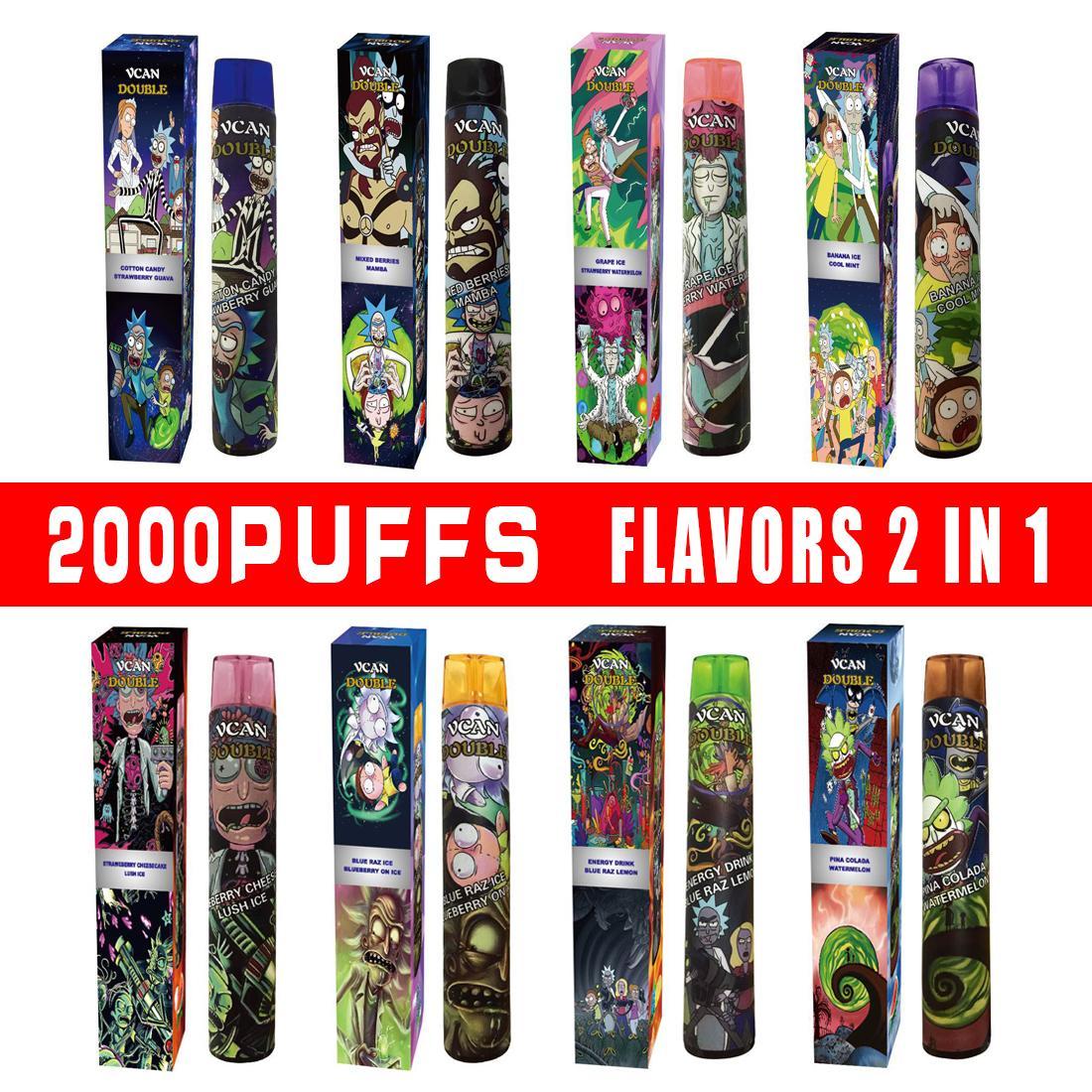 ORIGINAL 2000Puffs 2in1 Sabores Dispositivo descartável 8ml Pen Vape Vcan Double RM com bateria forte Transporte rápido de alta qualidade