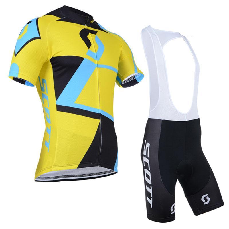 Pro Scott Bisiklet Jersey Bisiklet Giysileri Tur de Fransa Bisiklet Giyim Erkek Kısa Kollu Set MTB Maillot Ropa Ciclismo C0227