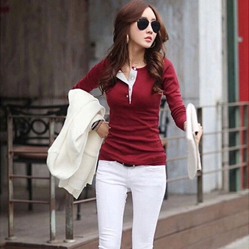 Mulheres coreanas Tops de manga comprida botão de algodão camisas casuais slim tops blusa blusa bluse