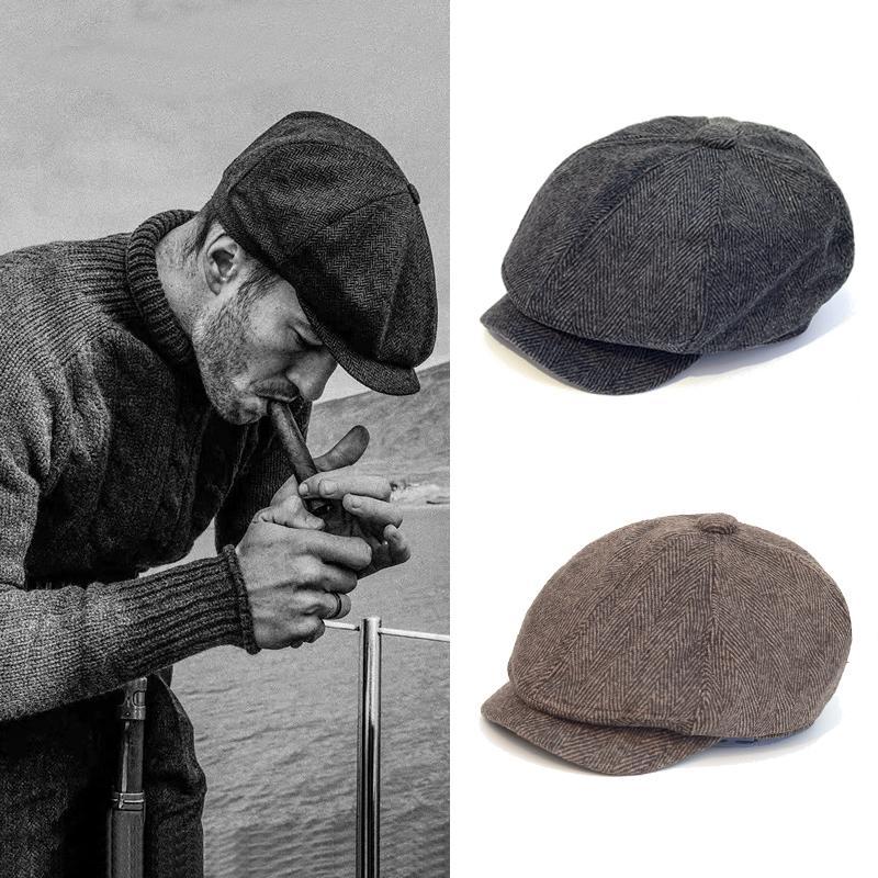 Männer Zeitungsbücher Hüte Peaky Blinds Herbst Vintage Heringbone Octagon Cap Frauen Casual Stripe Barets Gatsby Flat Hat 201204