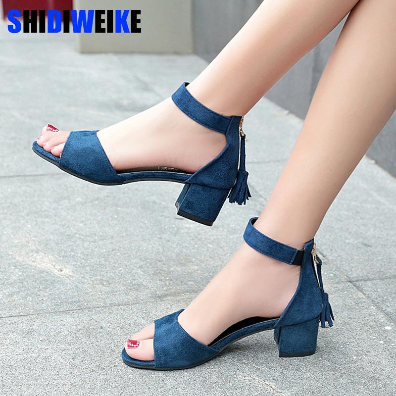 Женская обувь 2020 летняя кисточка стая женщин сандалии бахрома сандалии густые сандалии на высоком каблуке сандалии Sandalias M849 T200529