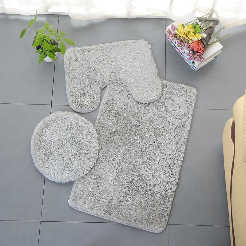 3 Pc Conjunto de Banheira Banheira Tapetes Tapete Contorno Tapete Toalete Tampa Tampa Plain Sólida Color Bathmats Winter Touch Cobertura Assento Assento Caçadores Tapete LJ201223