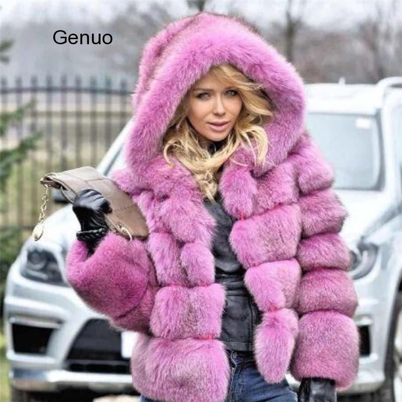 Casaco de pele de pele de pele falso plus size outwear casaco de inverno mulheres quente manga longa jaqueta falso com capuz overcoat novo