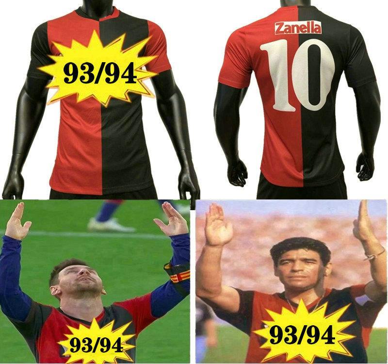 Spielerversion 93 94 Retro Club Atletico Newells alte Jungen Fußballtrikots Nummer 10 Messi Gedenken Maradona Football-Hemd-Uniformen