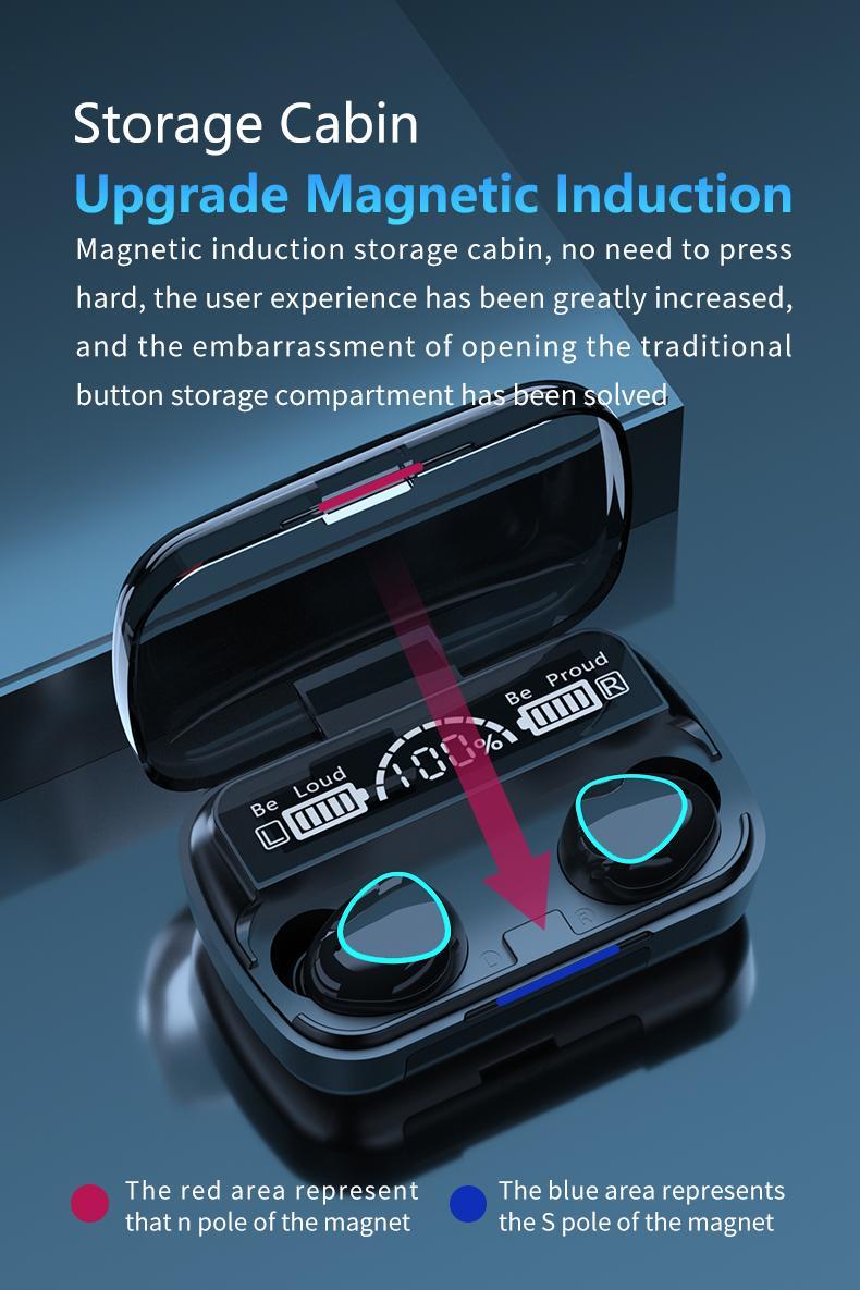 TWS 블루투스 무선 헤드폰 9D 스테레오 스포츠 블루투스 V5.0 이어폰 LED 방수 이어 버드 헤드셋 이중 마이크로폰