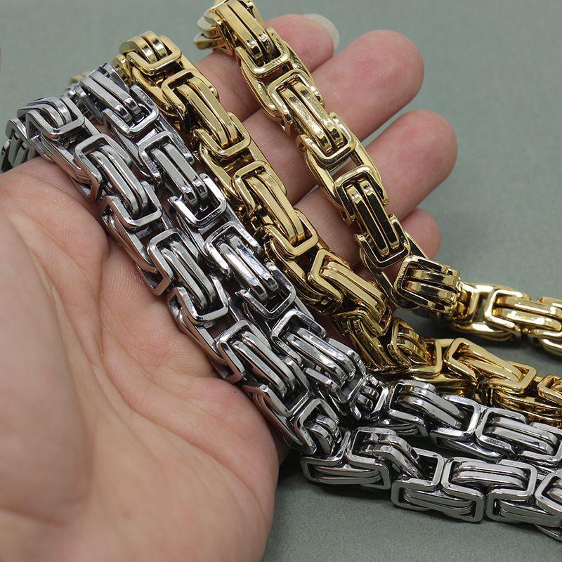 12 ملليمتر / 15 ملليمتر ضخمة 316l الفولاذ المقاوم للصدأ البيزنطية مربع رابط سلسلة قلادة الرجال المجوهرات الفضة، 24 بوصة طول