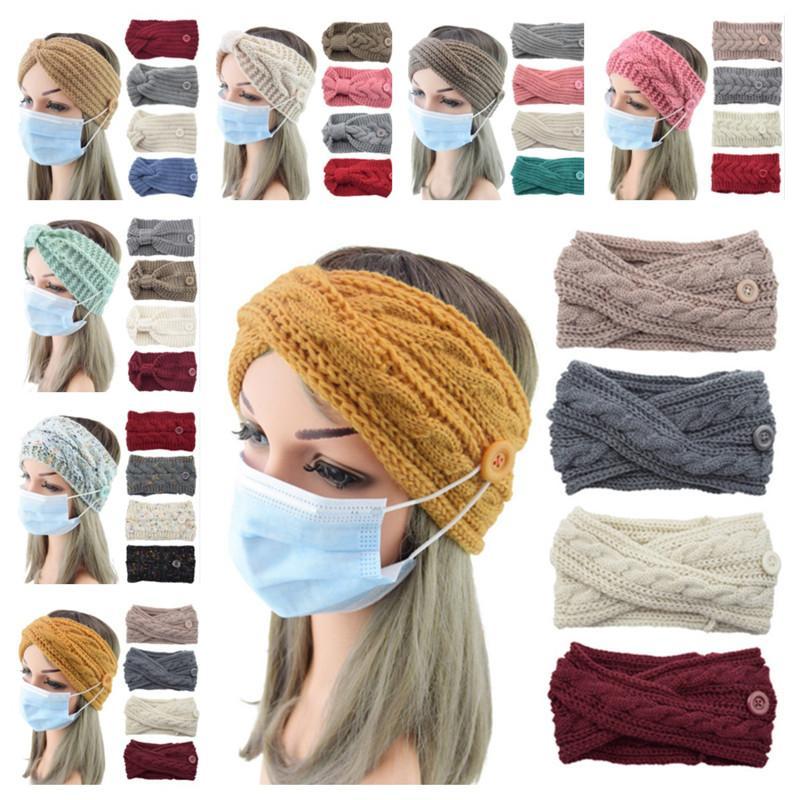 Yüz maskesi düğmesi kafa bandı unisex örme yün saç wrap yay çapraz hairbands 10 stilleri kış bere şapkalar spor eşarp ter bandı E121707