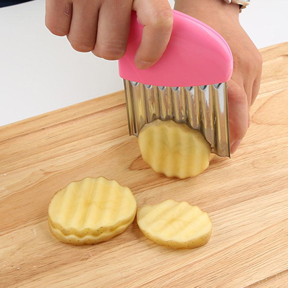 Aço inoxidável vegetal ondulado cortador de batata cenoura slicer enrugado batatas fritas fazendo faca acessório de cozinha dwb3458